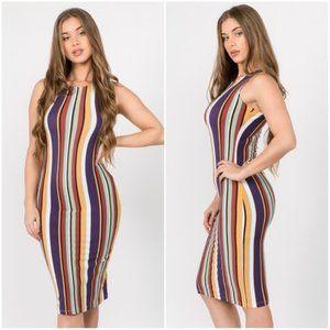 Multicolored Striped Bodycon Midi Dress
